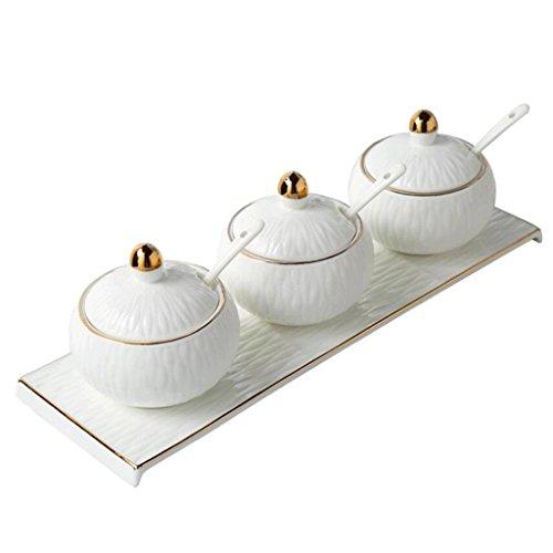 YYF Pot d'épice Creative Cuisine Fournitures Assaisonnement Boîte Salt Bowl Européen Céramique Assaisonnement Bouteille Trois Costume
