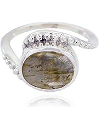 anillos de la labradorita del cabochon de la piedra preciosa natural de la piedra preciosa -