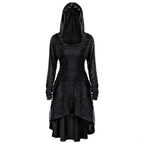 CICIYONER Damen Lässige Lange Ärmel Seite Bandage mit Kapuze lose Kleid S-5XL