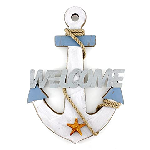 Wooden Nautical Chic Anchor Wall Hanging Ornament Welcome Sign