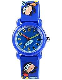 Kid Watch 3D Cute Cartoon Silicone Wristwatches Quartz Watch 30M Waterproof Time Teacher Gift for Little Girls Boy Children-Blue Monkey