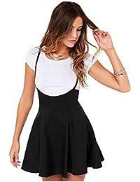 Tongshi Las mujeres de moda falda negra con correas de hombro vestido plisado