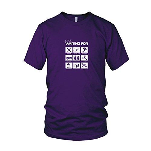 Still waiting for - Herren T-Shirt, Größe: XXL, Farbe: (Minion Lila Kostüm Idee)
