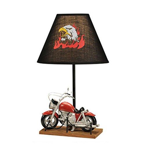 (td Harz Industrie Wind Rot Motorrad Tischlampe Warme Kinder Schlafzimmer Nachttischlampen Dekoration Geschenk Für Jungen Lesen Studie E27 LED Schreibtisch Licht)