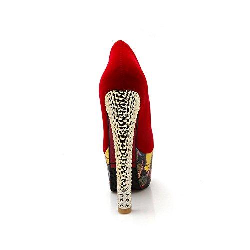 Femme Escarpins Sexy Suedine Plateforme Epais Talon Haut Club Rouge