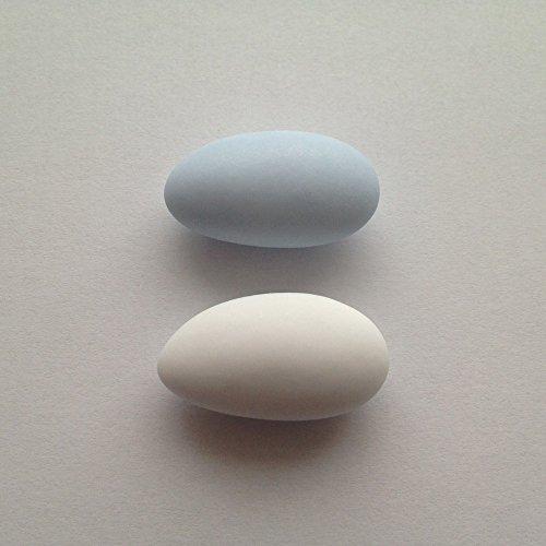 Taufmandeln 1 kg hellblau/weiß, rosa/weiß oder hellblau/rosa gemischt (für mind. 65 Gäste, 0,15 EUR/G) - Gastgeschenke Taufe Bonboniere Kommunion Mitgebsel Konfirmation Give Away Babyparty Zuckermandeln, Farbe:matt - weiß & zartblau