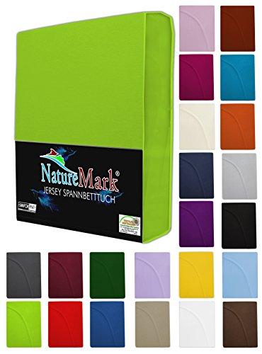 NatureMark Spannbettlaken Jersey alle Größen 22 Farben, Spannbetttuch 180x200 bis 200x200 cm, Farbe Bordeaux