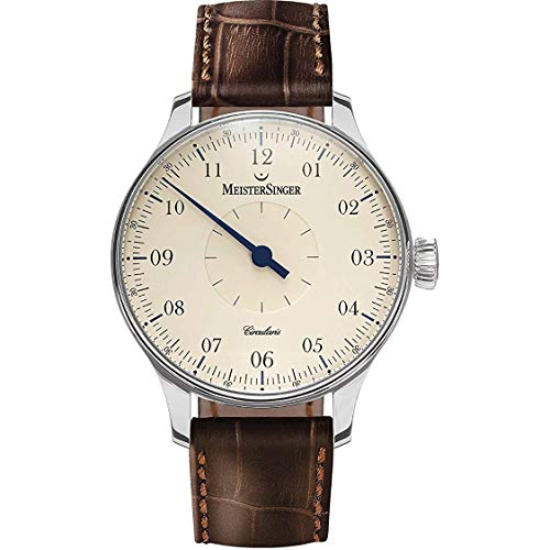 Meistersinger Men's 43mm Brown Alligator Leather Band Mechanical Watch CC103