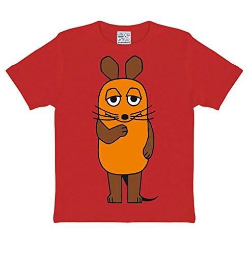 Logoshirt Die Sendung mit der Maus - Die Maus T-Shirt Kinder - Rot - Lizenziertes Originaldesign, Größe 140/152, 10-12 ()