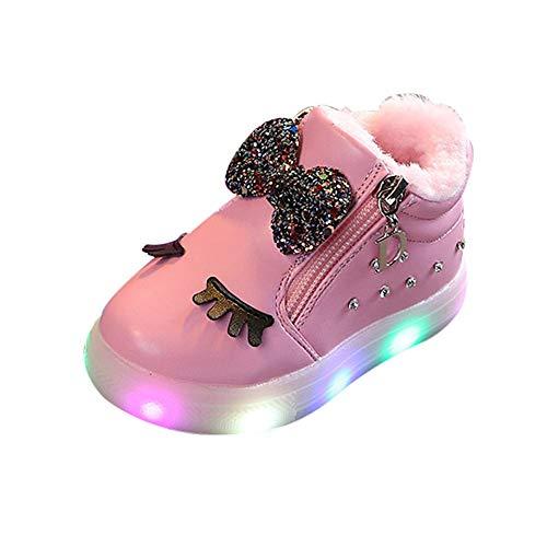 Oyedens Mädchen Led Schuhe, Led Leuchtstiefel Baby, Martin Stiefel Kinder Sport Sneaker Schuhekinder Beleuchtung Schuhe Winter Warme Samt Bogen Strass Weiße Kurze Stiefel