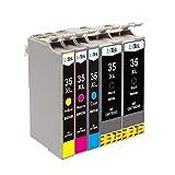 LxTek 35XL Kompatibel Ersatz für Epson 35 35XL Druckerpatronen für Epson Workforce Pro WF-4740DTWF WF-4730DTW WF-4720DWF WF-4725DWF (2 Schwarz, 1 Cyan, 1 Magenta, 1 Gelb)