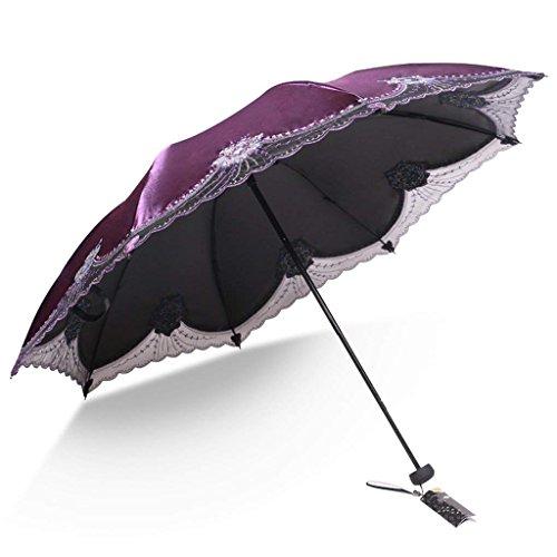 Reise-Regenschirm-UVschutz-Handbuch winddichtes regendichtes kompaktes faltendes Leichtgewichtler für einfach, Männer und Frauen mit rutschfestem Griff -UPF 50+ zu tragen (Farbe : Lila)