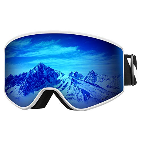 VELAZZIO OTG Skibrille, Snowboard-Brille - Austauschbare Zweischichtlinse, UV400, Beschlagfreie Schneebrillen für Herren & Damen (Weißer Rahmen/Graue Linse mit Blauer REVO-Beschichtung (VLT 17%))