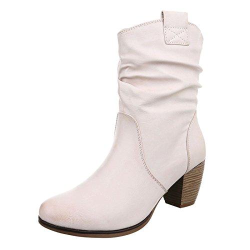 Damen Stiefeletten Cowboy Western Stiefel Boots Schlupfstiefel Schuhe 733 Beige