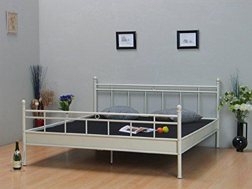 Metall Bett 140x200 vanille Creme Doppelbett Ehebett Jugendbett Bettgestell im Landhaus Stil