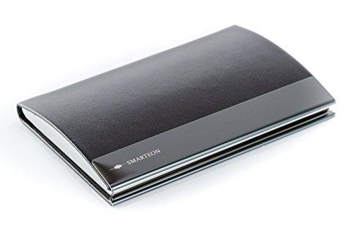 Premium Visitenkartenetui - hochwertiges Kartenetui sehr edel aus Edelstahl in hoher Qualität, eleganter Visitenkartenhalter als Business Accessoire in PU Leder schwarz und Magnetverschluss (Schwarz)