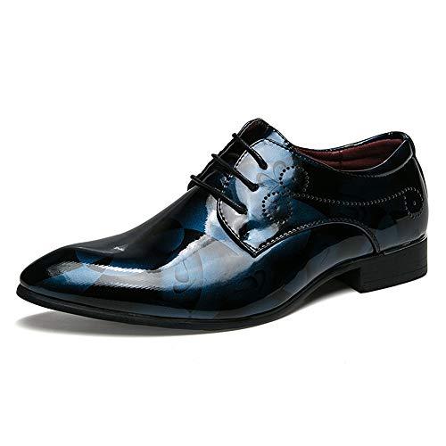 YIJIAN-SHOES Herren Oxford Schuhe Herren Business Oxford Lässige Mode Anti-Rutsch-Patent Keine verblassenden Leder schnüren Sich Oben Formale Schuhe Kleid Oxford Schuhe (Color : Blau, Größe : 39 EU) - Patent-penny Loafer