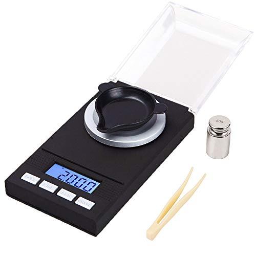 IHOMYIPET Premium Mini Taschenwaage, 50X0,001 g Nachladen Digitale Waagen | mit Kalibriergewichten Pinzetten und Wägeschalen