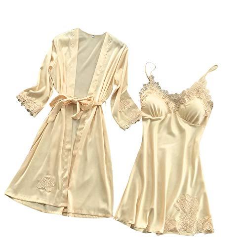 Lanskrlsp biancheria intima donne pizzo di seta abito robe bambolina camicia da notte kimono,sexy pigiama in pizzo sexy camicia da notte kimono cardigan robe in due pezzi