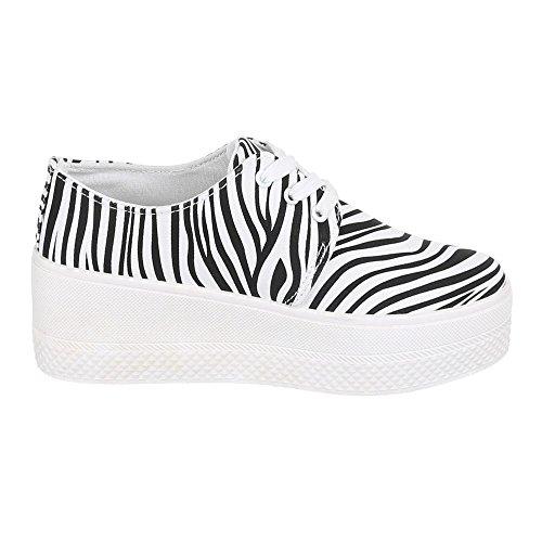 Chaussures pour femme, R 20, halbschuhe Sneakers formateurs Blanc - White - Weiß Schwarz