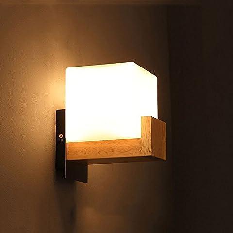 Pumpink Schlafzimmer Eisen Glas Schatten Massivholz Wandleuchte Wandleuchte Einfache moderne