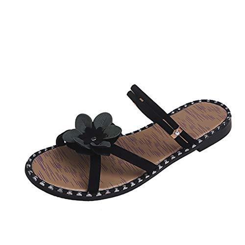 Amlaiworld ❤ Damen-Strandschuhe, Faule Sandalen des Blumenwortes und Flache böhmische Schuhe der Hausschuhe Küsten-Blume(Schwarz,39)