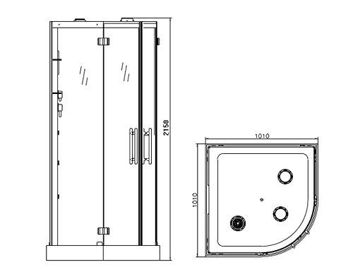 Dampfdusche Viertelkreis 100 x 100 cm, Bambus - 2