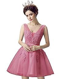 b4144db062b1 MisShow Damen Prinzessin Spitzen Ballkleid Tüll Abendkleid  Brautjungfernkleid Applique Kurz Rückenfrei ...