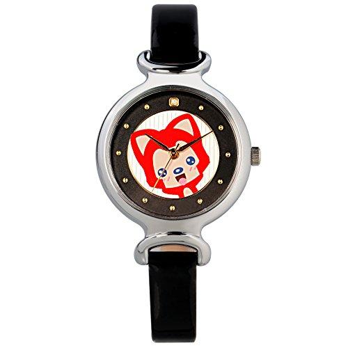 Time100 Orologio da Polso della Serie di Gioventù, Movimento al Quarzo, Bracciale in Pelle di Vitello Nero, Quadrante Rotondo Decorato con Strass e Immagine di Volpe Ali#W30002.02A