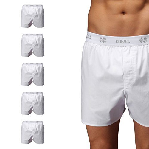 D.E.A.L International 5er-Set Boxershorts mit Logo-Bund, weiss Size L (International-logo)