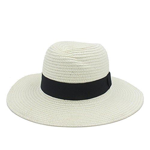 Guter Hut Mode Sommer Elegante Große Breite Krempe Panama Hut Königin Fedora Hut Strandkappe Mit Bowknot ( Color : Cream , Size : 56-58cm ) (Fedora-hüte Für Frauen Groß)
