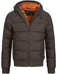 INDICODE Hommes Veste à capuche Zip Manteau d'hiver Vent Veste matelassée Adrian 5061 Noir Bleu Gris Orange S M L XL XXL