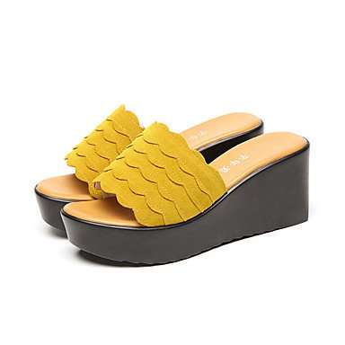 RTRY DonneStacchi Alti Comfort Slippersummer Casual Office &Amp; Carriera Comfort Tacco A Cuneo Verde Giallo Nero 2A-2 3/4In US8 / EU39 / UK6 / CN39