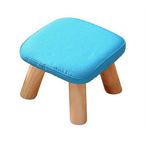 LAD-I Runden Hocker Schemel Schäbig Schick Luxus Hölzern Fußbank Ottomane Stuhl Stoff Abdeckung 4 Beine Sich ausruhen Gepolstert Sitz, Blue