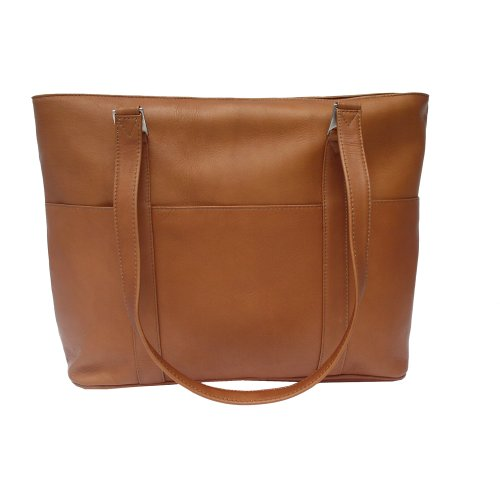 Piel Leather Computer Tote Bag, Saddle, One Size Saddle