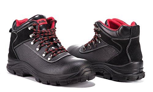 Black Hammer Männer echt Leder Sicherheitsschuhe wasserdicht Schuhe S3 Stahlkappen Arbeitsschuhe Knöchel Leder 7777 Schwarz (Wasserdicht)
