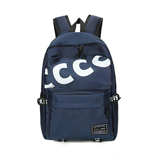 Femmina Impermeabile Oxford Portable Backpacking Scuola Secondaria School Student Bag,Black Blue