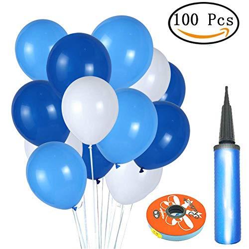 Yangbaga Globos Blancos y Azules 12 Pulgadas Globos Látex Decoración de Navidad Fiesta Ceremonia Boda Cumpleaños (100 Piezas)