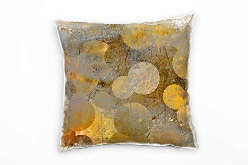 Paul Sinus Art Abstrakt, Gold, Braun, Kreise Deko Kissen 40x40cm für Couch Sofa Lounge Zierkissen -...