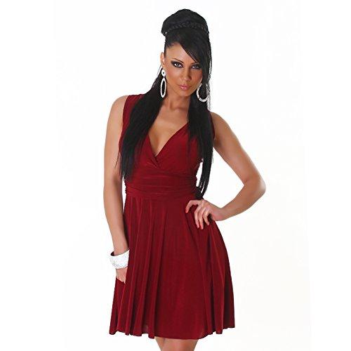 Fashion - Robe - Cocktail - Uni - Sans Manche - Femme Rouge bordeaux