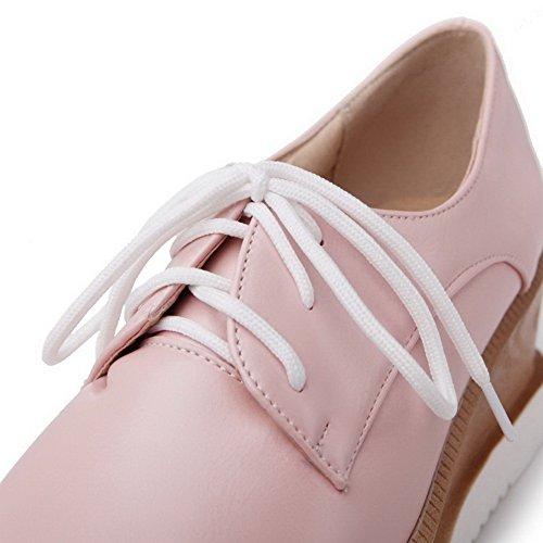 AgooLar Femme Lacet Pu Cuir Carré à Talon Correct Couleur Unie Chaussures Légeres Rose