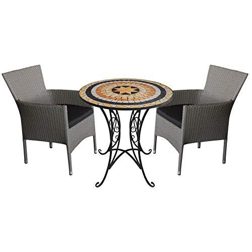 3tlg. Sitzgarnitur Sitzgruppe Mosaiktisch Ø70cm + 2X stapelbare Polyrattan Sessel Grau inkl. Kissen Schwarz