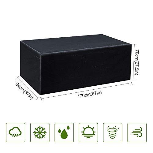 MORIASTER Funda Protectora para Muebles de jardín Funda Muebles Exterior Impermeable Anti-UV Protección Cubierta de Muebles de Mesas Oxford Negro