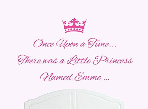 ONCE UPON A TIME THERE WAS A LITTLE PRINCESS LLAMADO EMME GRANDE ADHESIVO DECORATIVO PARA PARED/DE VINILO CAMA HABITACION ARTE CHICA/BEBE
