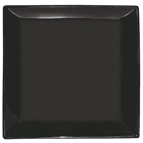 Olympia y076 Assiette carrée, noir (Lot de 12)