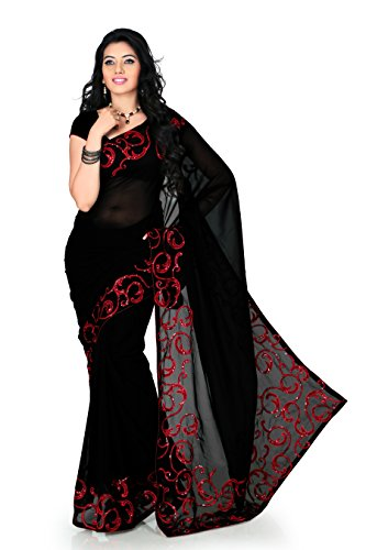 Women Faux georgette Embroidered Black Saree with unstitched blouse(1170)