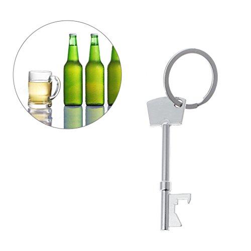 Cuigu en forme de clé Décapsuleur Anneau porte-clés en métal Outil de bière de bar Club fête -