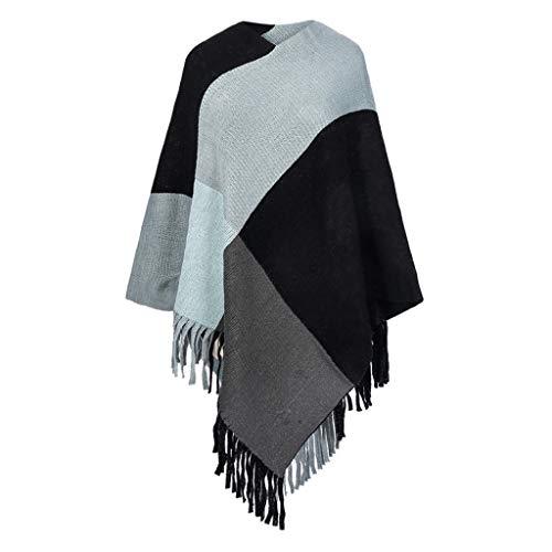 Auied Schal Lange Quaste Winter Wolle Mischung Weich Warm Schal Wickeln Schal Plaid Schal -