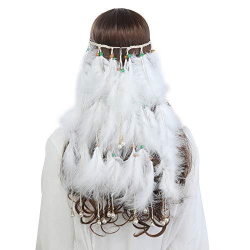 Kostüm Einfach Lustige Super - AWAYTR Damen Hippie Boho Indianer Stirnband Feder Stirnbänder für Abendkleider Halloween Karneval (Reines Weiß)