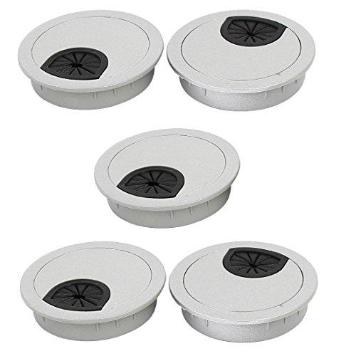 sourcingmap Bureau passe-câble plast couvercle ouverture fil gris argent 60mm 5pcs Dia